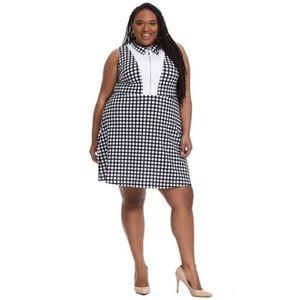 Eloquii Bib Front Dress Black Polka Dot NWT